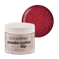 Cuccio Dark Red Glitter Powder Polish dippipuuteri 45 g