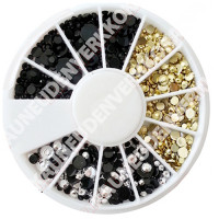 Noname Cosmetics 3D-koristetimantit kulta-hopea-musta 720 kpl