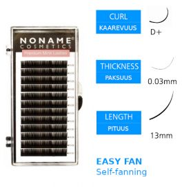 Noname Cosmetics Easy Fan Volyymiripset D+ 0.03 / 13mm