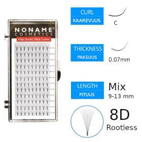 Noname Cosmetics Premade Fans Rootless 8D Volyymiripsiviuhkat C 0.07 / 9-13mm