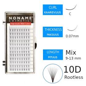 Noname Cosmetics Premade Fans Rootless 10D Volyymiripsiviuhkat C 0.07 / mix 9-13mm
