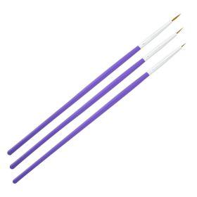 Universal Nails NailArt Brush Set Violet Teräväkärkiset koristepensselit 3 kpl