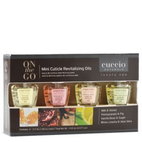 Cuccio Mini Cuticle Revitalizing Oil Kit kynsinauhaöljy lajitelma 4 x 3,7 mL