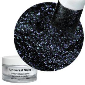 Universal Nails Musta Helmiäinen UV glittergeeli 10 g