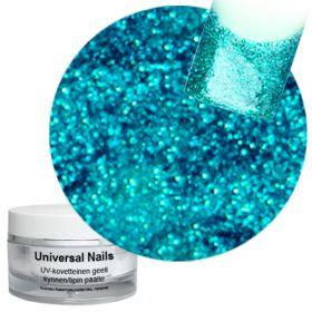 Universal Nails Turkoosi UV glittergeeli 10 g