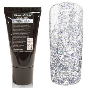 Universal Nails Acrylic-Gel UV/LED Glitter Silver polygeeli 30 g